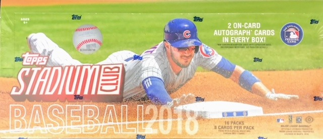 2018 Topps Stadium Club MLB Baseball Hobby Box