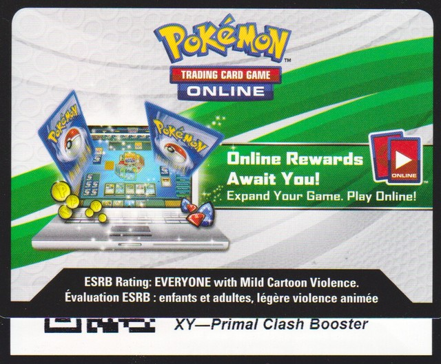 XY Primal Clash - Unused Booster Pack TCGO Code Card