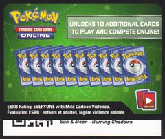 Burning Shadows - Unused Booster Pack TCGO Code Card