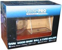 Dark Wood Base Ball & Card Holder