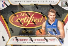 2018-19 Panini Certified NBA Basketball Hobby Box