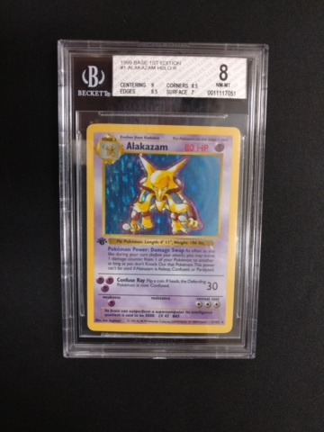 Alakazam 1/102 1st Ed Base Set BGS 8 Pokemon Graded Card