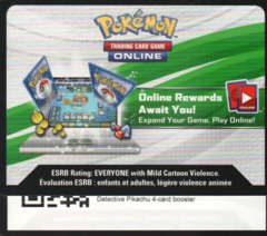 Detective Pikachu 4-card BOOSTER - Unused TCGO Code Card