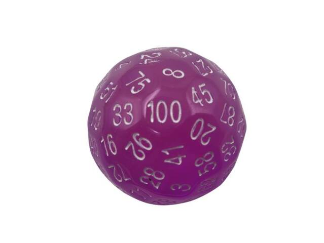 SINGLE 100 SIDED POLYHEDRAL DICE (D100) | TRANSLUCENT PINK COLOR WITH WHITE NUMBERING (45MM)