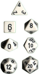 Polyhedral 7-Die Set: Opaque: White/Black