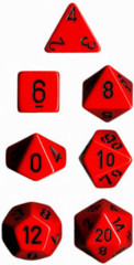 Polyhedral 7-Die Set: Opaque: Red/Black