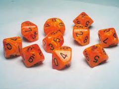 10 Sided Die Vortex Orange with Black Numbers d10 Dice Set