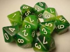 Dice 10 Die Phantom Green with White Numbers d10 Set of 10