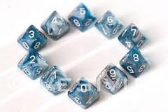 Sets Lustrous Slate W/ White Ten Sided Die d10 Set (10)