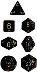 Polyhedral 7-Die Set: Opaque: Black/Gold