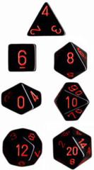 Polyhedral 7-Die Set: Opaque: Black/Red