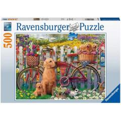 PUZZLE 500 CUTE DOGS IN THE GARDEN