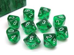 Translucent Green/white Set of Ten d10 Dice CHX23275