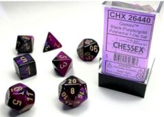 Gemini Black-Purple w/Gold Set of 7 Dice - CHX26440