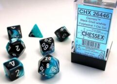 7 Black-Shell/white Gemini Polyhedral Dice Set - CHX26446