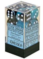 12 16mm Black-Shell w/White Gemini D6 Dice - CHX26646