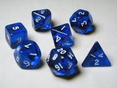 Transparent Polyhedral 10 Dices Set Blue/White