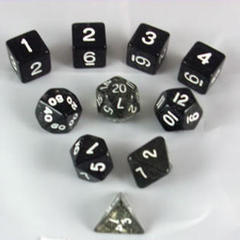 Glitter Polyhedral 10 Dices Set Black/White