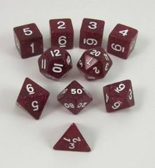 Glitter Polyhedral 10 Dices Set Purple/White