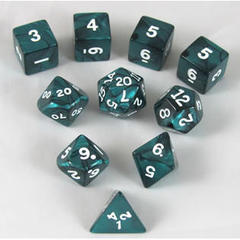 Pearlized Polyhedral 10 Dices Set Emerald/White