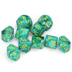 Vortex Malachite Green w/Yellow D10 Set (10) CHX 27255