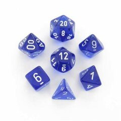 translucent blue white polyhedral 7 die set chx23076