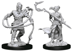 MAGIC THE GATHERING UNPAINTED MINIATURES  -  STONEFORGE MYSTIC & KOR HOOKMASTER (FIGHTER, ROGUE)
