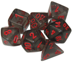 translucent smoke red polyhedral 7 die set chx23088