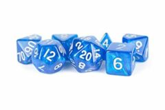 Stardust Blue w/ Silver Numbers 16mm Poly Dice Set