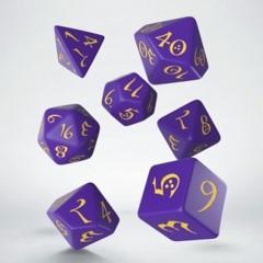 Q-Workshop - 7 Dice Set - Classic - Purple & Yellow