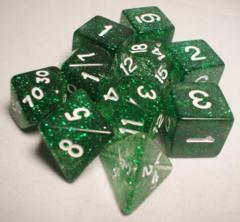Glitter Polyhedral 10 Dices Set Green/White