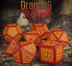 Q-Workshop - 7 Dice Set - Dragon Slayer - Red and Orange