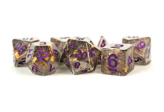 Gray Foil With Purple Numbers 16mm Resin Poly Dice Set