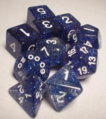 Glitter Polyhedral 10 Dices Set Blue/White