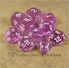 Transparent Polyhedral 10 Dices Set Orchid/White
