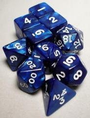 Pearlized Polyhedral 10 Dices Set Navy/White