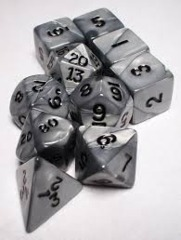Olympic Pearlized Polyhedral 10 dice Silver