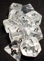 Transparent Polyhedral 10 Dices Set Clear/Black