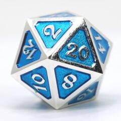 DIE HARD DICE: D20 MYTHICA PLATINUM AQUAMARINE