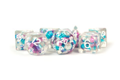 Pearl Dice Gradient Purple/Teal/White w/ White Numbers 16mm Resin Poly Dice Set