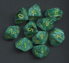 10 Vortex Malachite Green w/yellow D10 dice