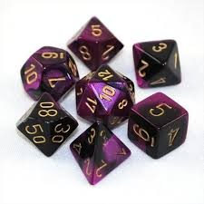 26440 Gemini Black-Purple w/Gold Set of 7 Dice -