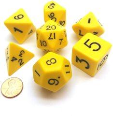 13044 Jumbo Dice Set 7 Polyhedral Yellow/Black Opaque 28mm TUBE