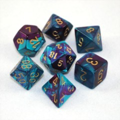 Gemini Purple-Teal / Gold 7 Dice Set