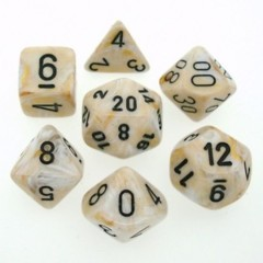 Marble Ivory / Black 7 Dice Set