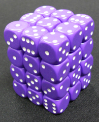 36 Purple w/white opaque 12mm D6 Dice Block - CHX25807