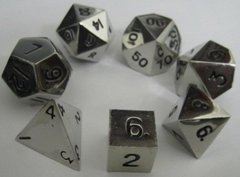 Antiqued Silver 16mm Dice- 7 piece set