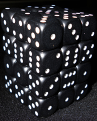 36 black w/white Opaque 12mm D6 Dice Block - CHX25808