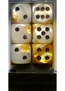 12 Gold-White w/black 16mm Dice Block
