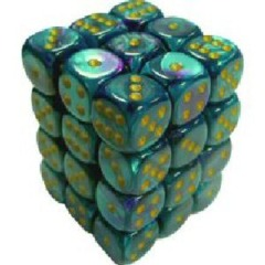 36 Purple- Teal w/ Gold Gemini 12mm D6 Dice Block